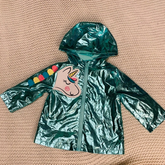 wonder nation Other - Wonder Nation Aqua Metallic Unicorn Jacket Sz 12M